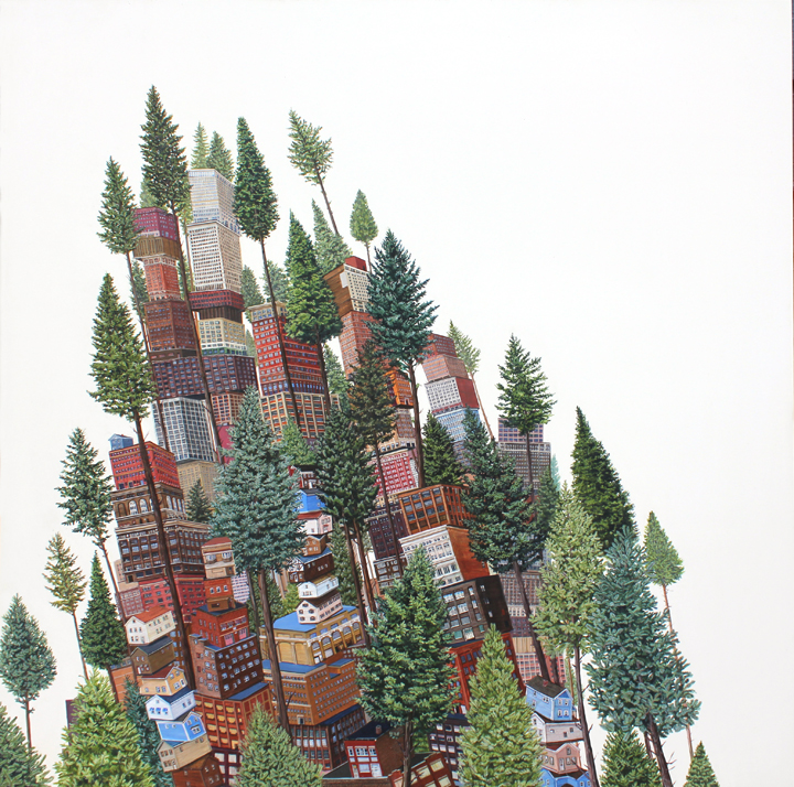 "Tall Trees Acrylic on panel 30""x30"" 2013"